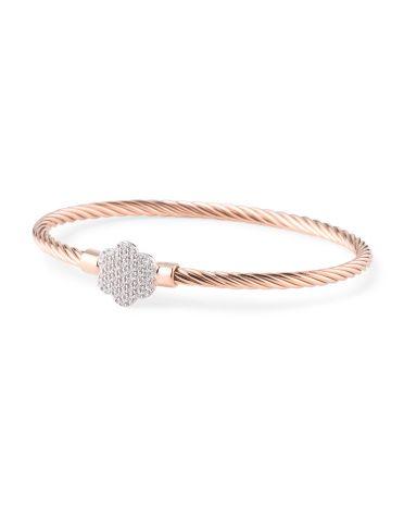 Made In Italy Rose Gold Plated Sterling Silver Flower Hook Bracelet