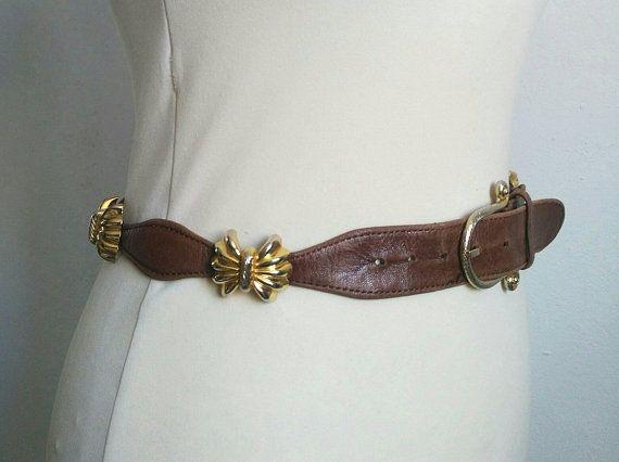 Vintage brown leather belt, 70s belt, vintage belt