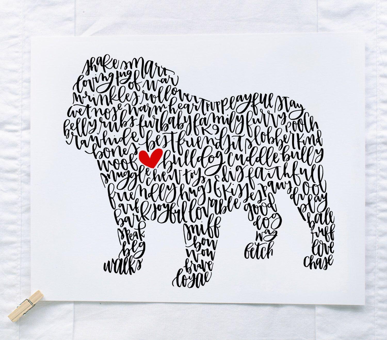 English Bulldog Illustration Print English bulldog lover