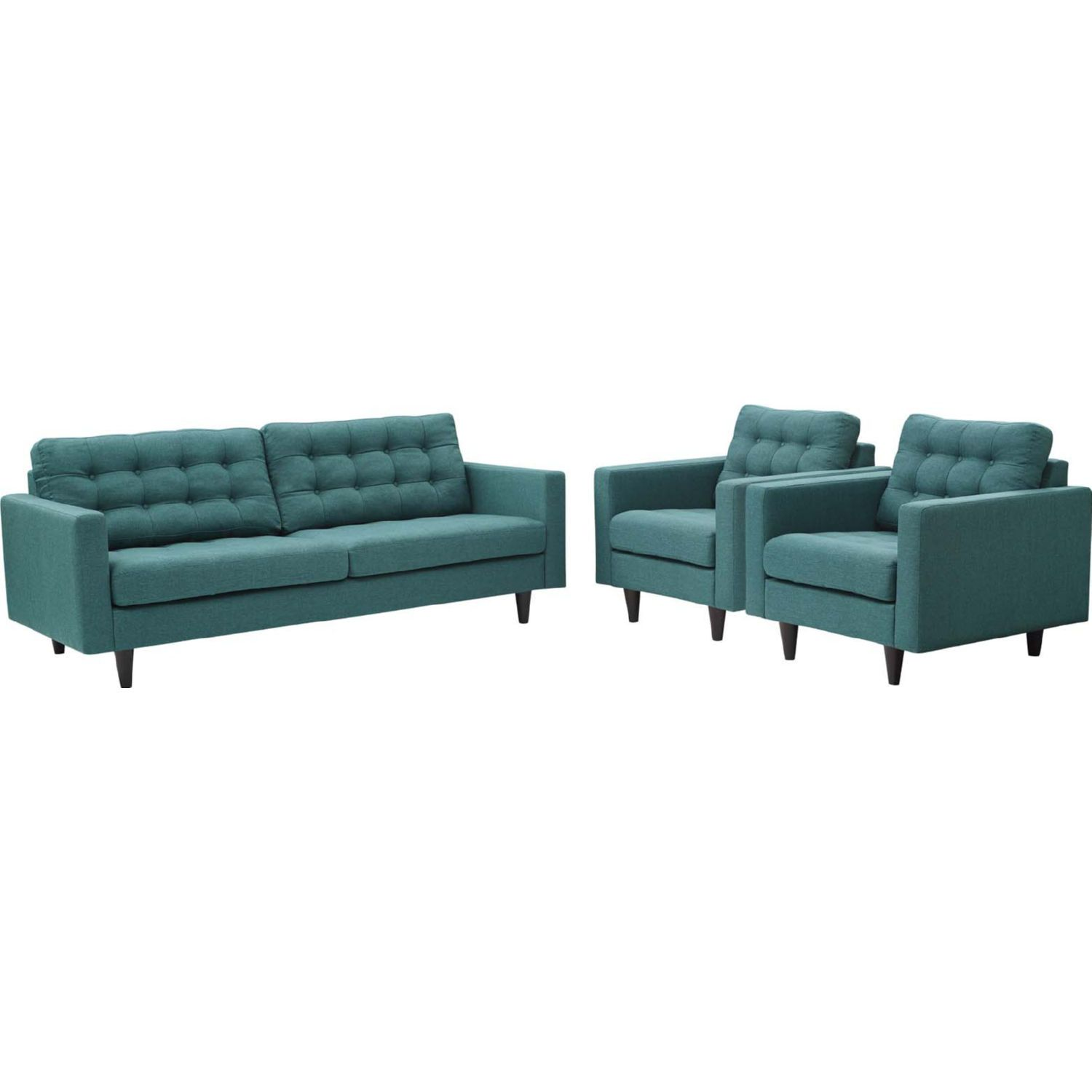 Stupendous Empress Sofa 2 Arm Chair Set In Tufted Teal Fabric By Inzonedesignstudio Interior Chair Design Inzonedesignstudiocom