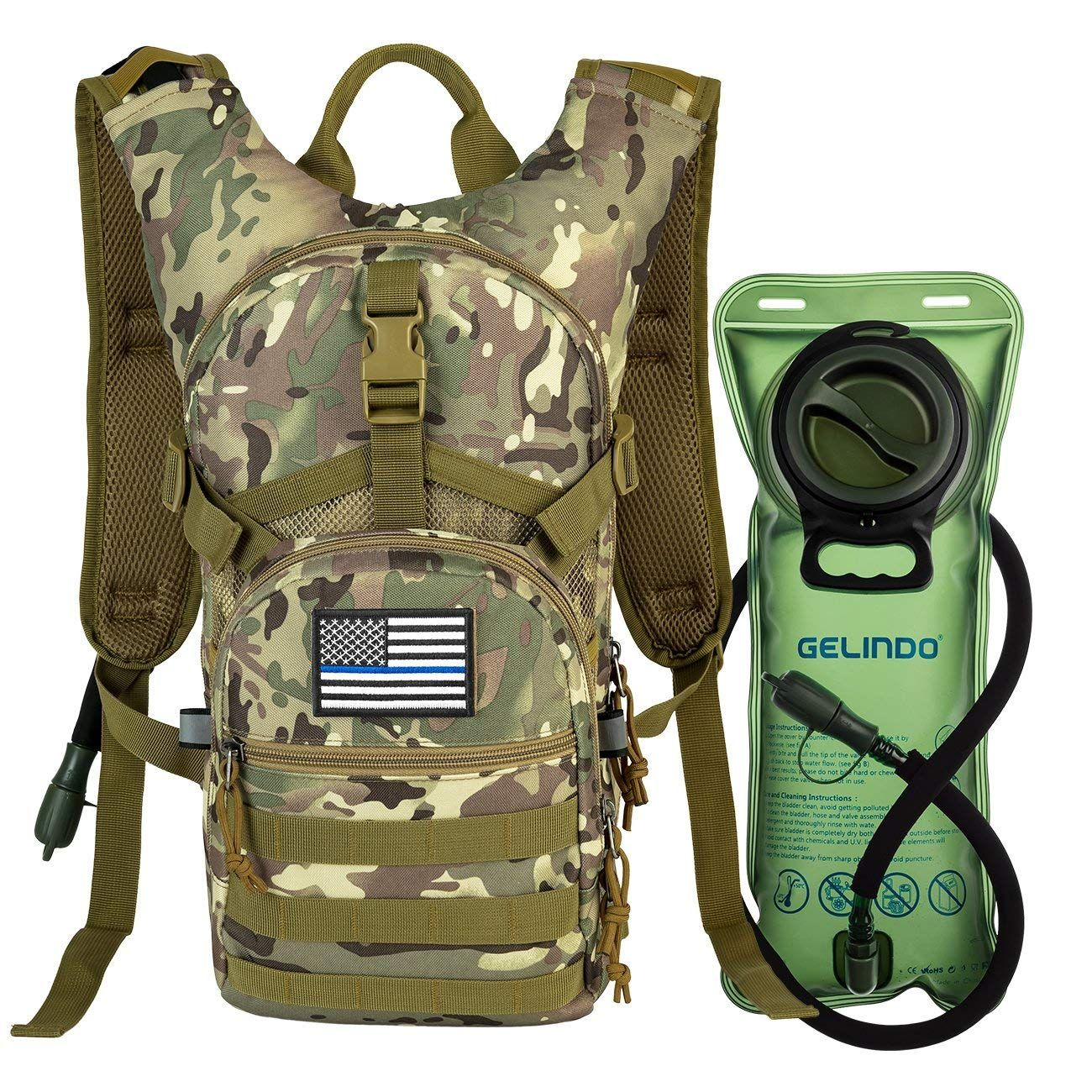 Military Tactical Hydration Backpack with 2L Water Bladder MOLLE Tactical Assaul