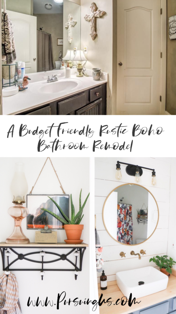 A Budget Friendly Rustic Bohemian Bathroom Remodel