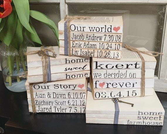 d5ddbf187a6e5 Stamped Books / Book Stacks / Farmhouse Books / Personalized Books ...