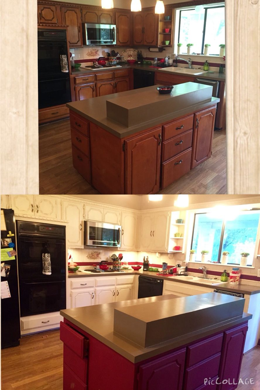 Chalk Paint By Annie Sloan Renovation Old White Kitchen Cabinets With A Burgundy Island Kitchen Design Kitchen Cabinet Remodel Kitchen Cabinet Design