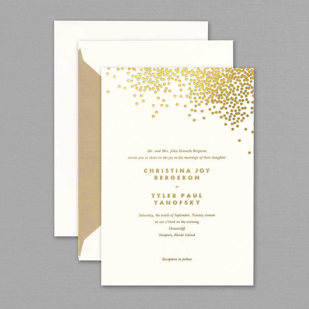 Every party should have a little confetti. Foil stamped in gold on ...