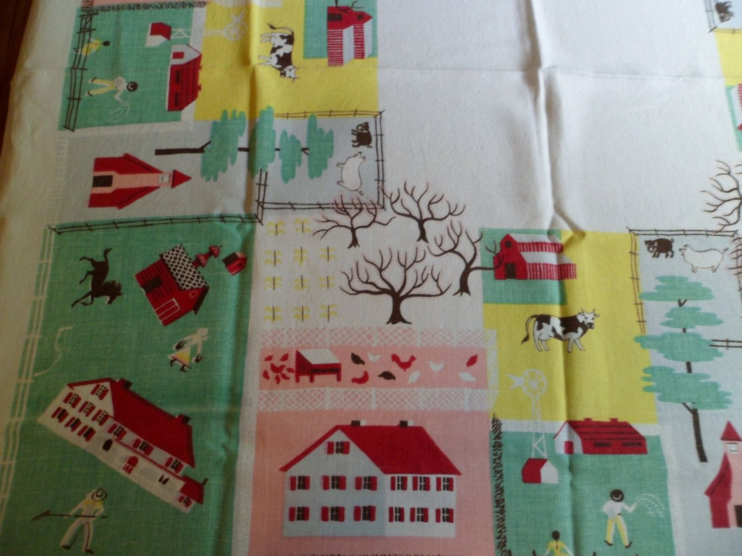 Arts and crafts table linens - Vintage Leacock Prints Tablecloth R F D Rural Country Farm Scenes