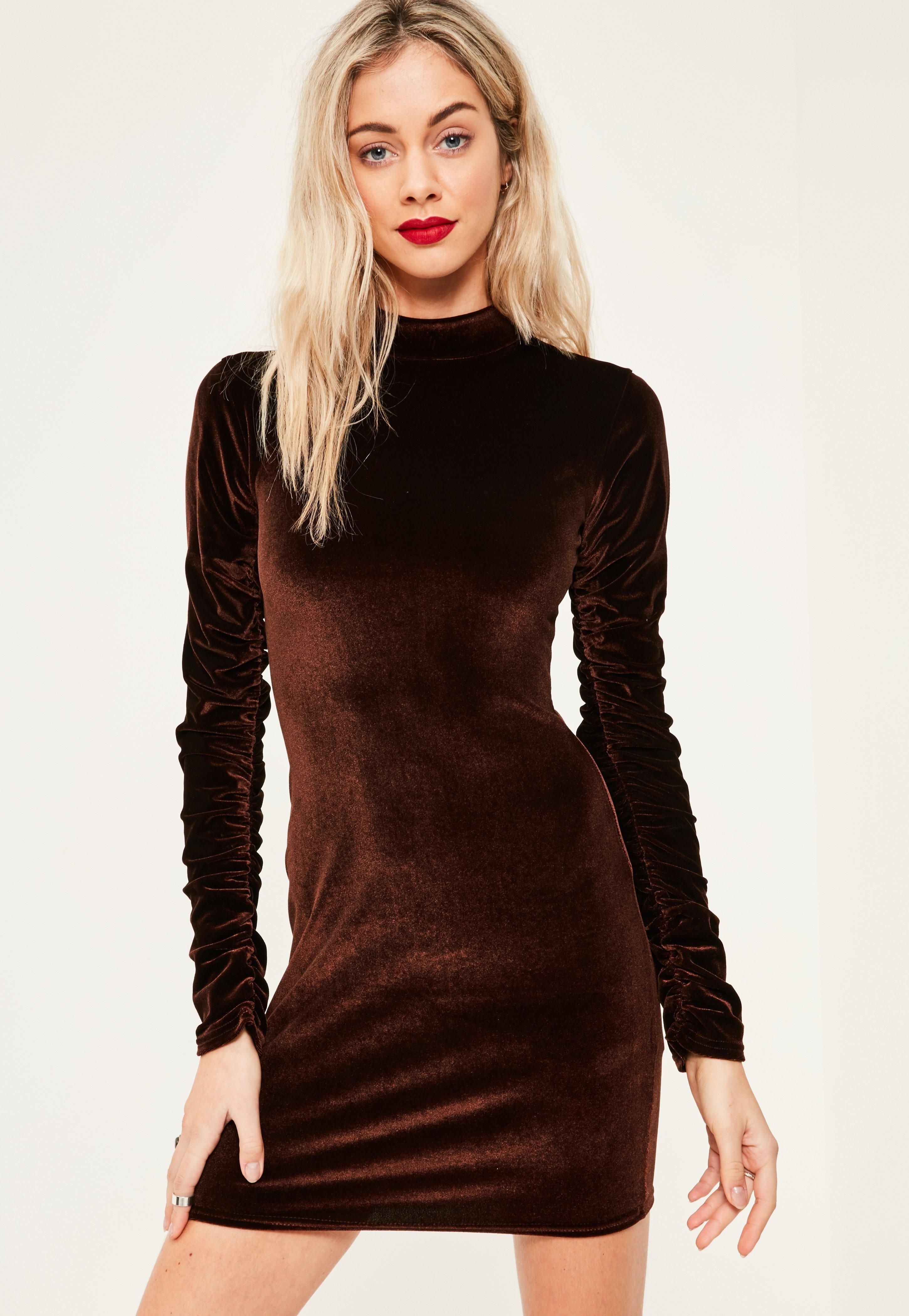 Missguided - Brown Velvet Ruched Sleeve Bodycon Dress