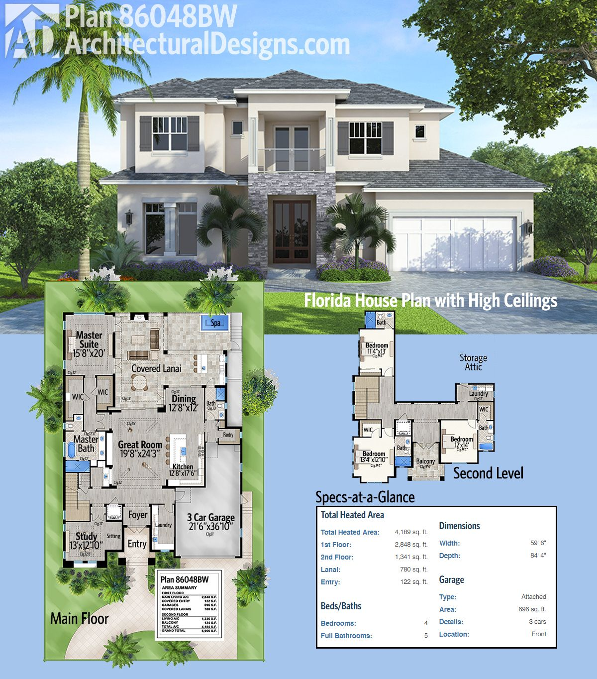Plan 86048bw Florida House Plan With High Ceilings Florida House Plans House Plans Architectural Design House Plans