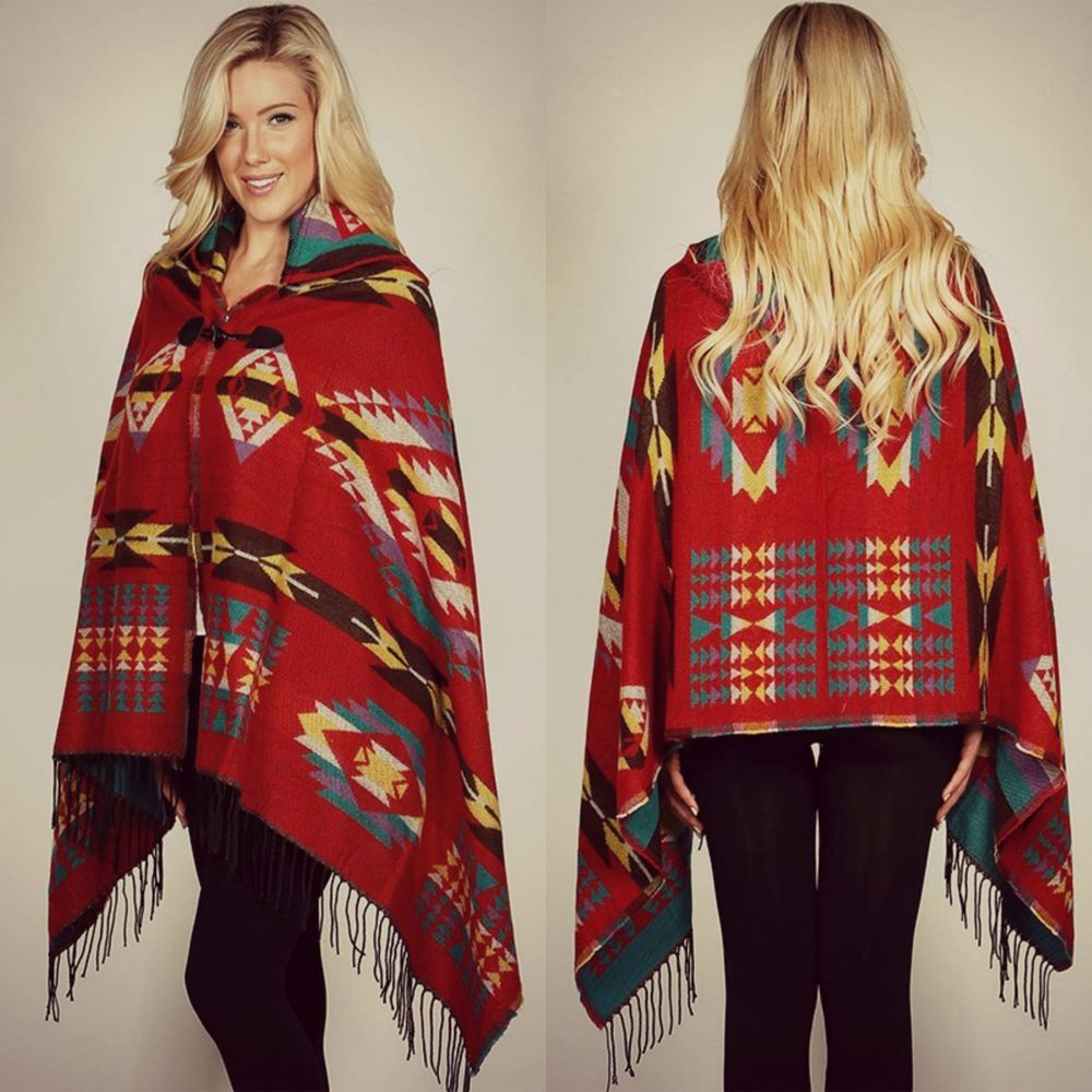 5d145ecfbfd AZTEC SOUTHWEST PRINTED BLANKET PONCHO FRINGE HOOD CAPE WRAP BRICK RED S M  L  WeekendinVegas  PonchoWrap  Fall