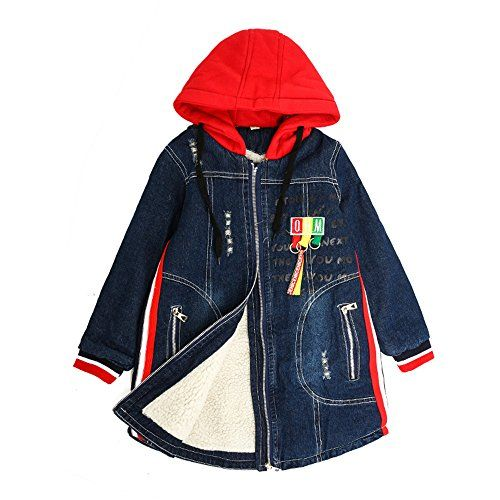 Star Flower Girls' Denim Jackets Size 14 7-16 Wrap Coat With Hood ...