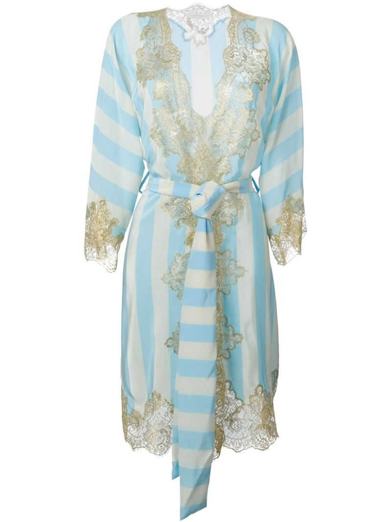 Rosamosario lace application striped dressing gown, Women\'s, Size ...