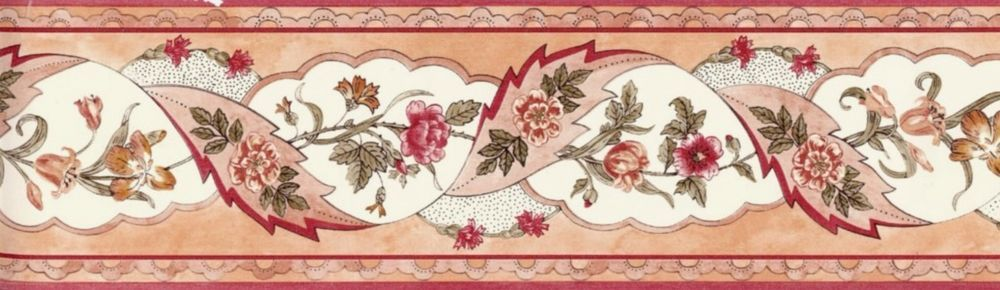 Wallpaper Border Country Floral Green, Coral & Peach