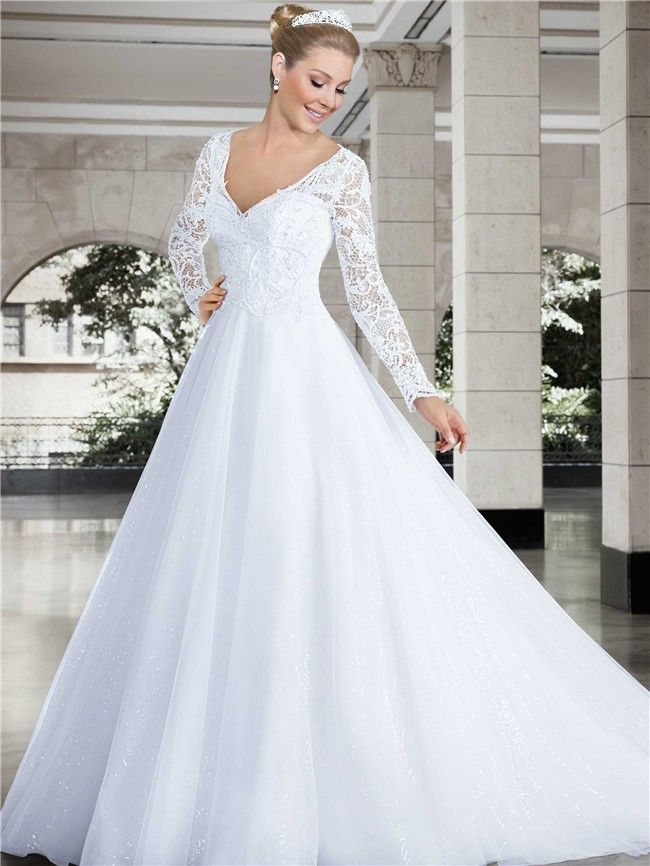 Princess V Neck Long Sleeve Lace Tulle Glitter Wedding Dress ...