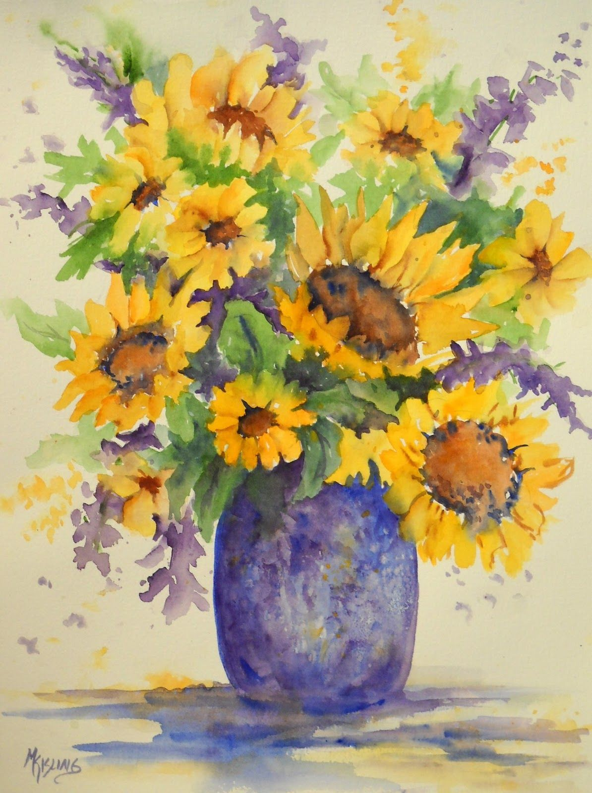 Watercolor Flowers And Paint Brushes: Watercolor Paintings Of Flowers