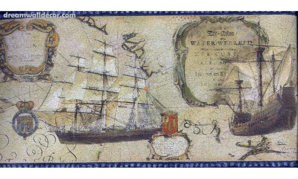 Old world map ships blue trim nautical wallpaper border decor for old world map ships blue trim nautical wallpaper border gumiabroncs Choice Image