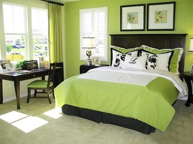 Natural Green Color Schemes For Modern Bedroom And Bathroom