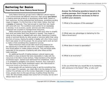 Bartering for Basics | 5th Grade Reading Comprehension ...