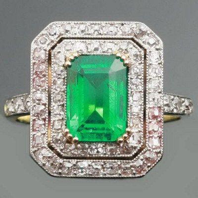 Vintage Colombian emerald diamonds by adinantiquejewellery on Etsy