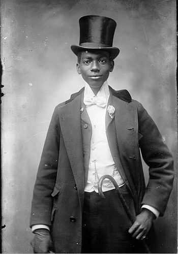 656ac15ffc1 +~+~ Antique Photograph ~+~+ Handsome young African American in a top hat  and cane.