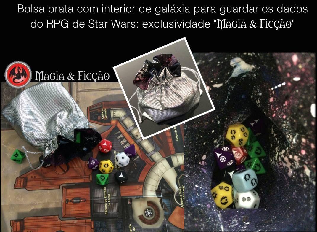 Bolsa Galáxia para dados de RPG - www.facebook.com/magiaeficcao