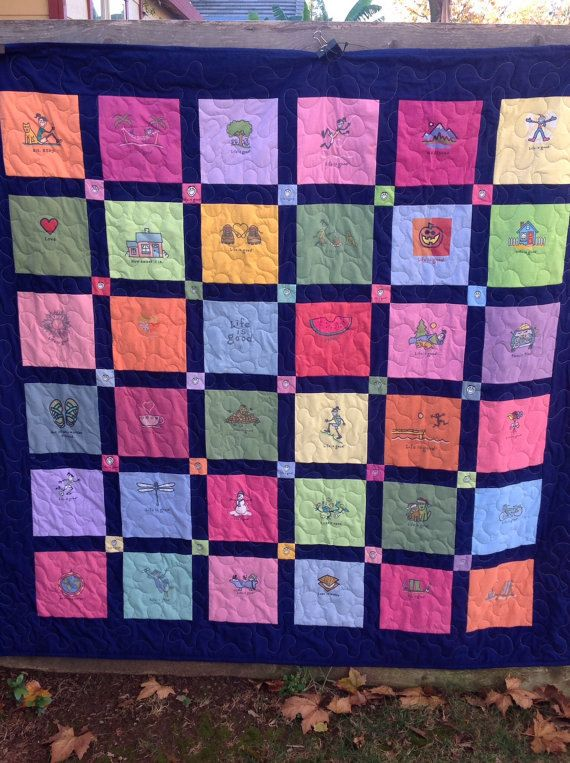 Life is Good, T shirt quilt, tshirt blanket, custom quilt ... : personalized quilts - Adamdwight.com