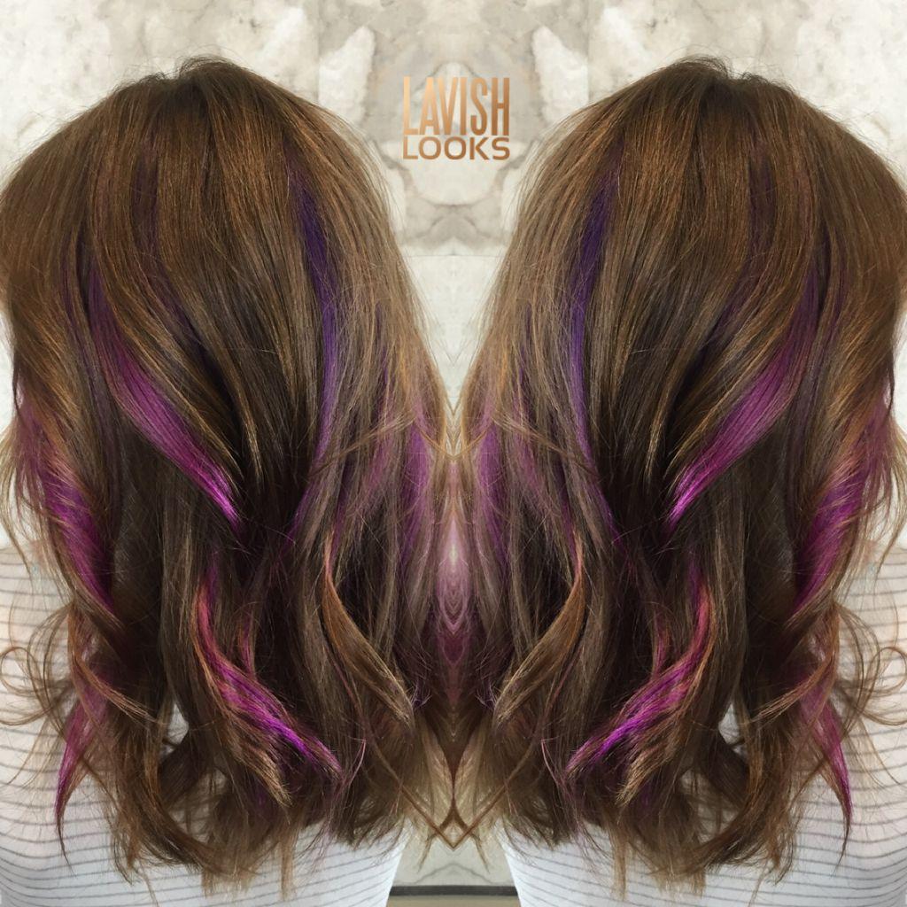 Ribbons Of Fashioncolor Using Joico Instagram My Lavish Looks Fashioncolor Peekaboo Pinkhair Purplehair Hair Streaks Peekaboo Hair Vivid Hair Color