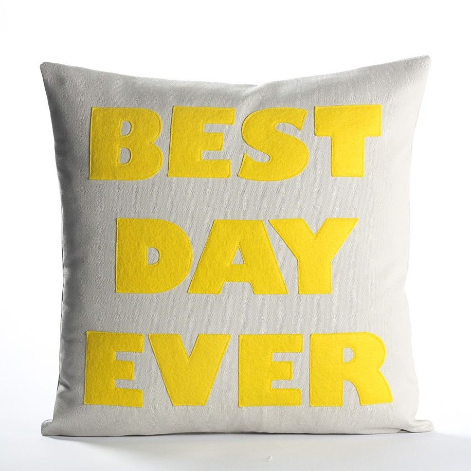 Alexandra Ferguson Best Day Ever Pillow Stone Yellow Candelabra Inc Applique Pillows Throw Pillows Square Pillow Cover