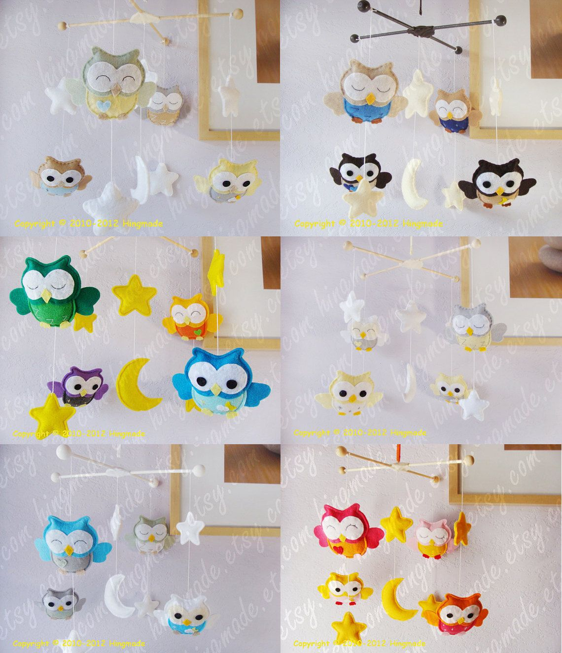 (inspiration for a DIY Totoro mobile) Baby Mobile - Nursery Mobile - Felt Mobile - Modern Mobile - Bird Owl Mobile - Blue Owls in a Yellow starry night(U can pick your colors). $98.00, via Etsy.