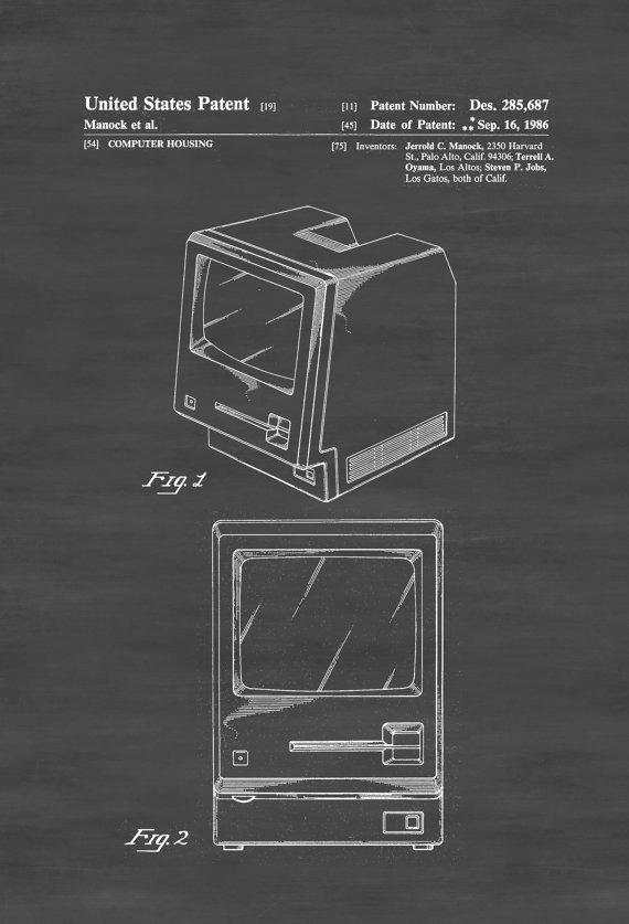 Original Apple Macintosh Computer Patent - Patentdruck, Wanddekoration, Computerdekoration, Vintage Computer, Apple Patent, Steve Jobs Patent
