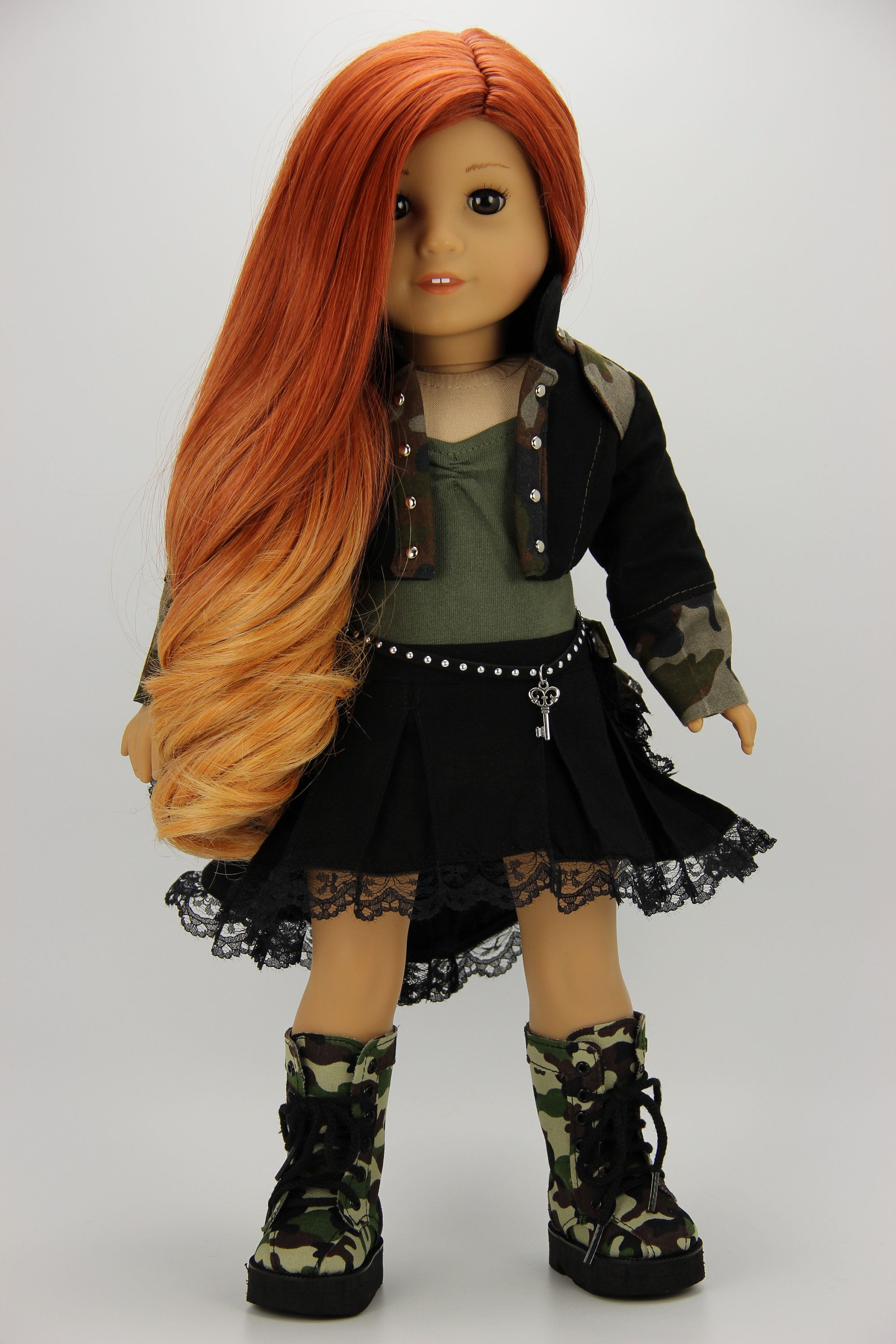 Handmade 18 inch doll clothes - Black and camo 5 piece steam punk outfit (1202) #18inchdollsandclothes