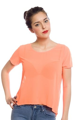 Make the Cut High Low Cut-Out Tee - Orange from The Timing Inc  at Lucky 21