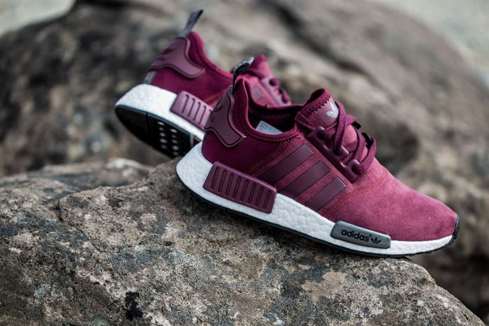 The women's adidas NMD Burgundy comes with a suede upper and is set to release March 17th for $130.