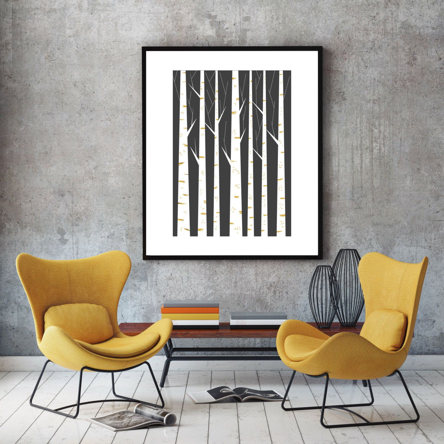 birch forest geometric print minimalist art poster
