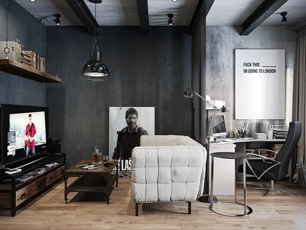 Dark And Moody Modern Industrial Apartment In Russia My House Is Extraordinary Industrial Apartment Decor