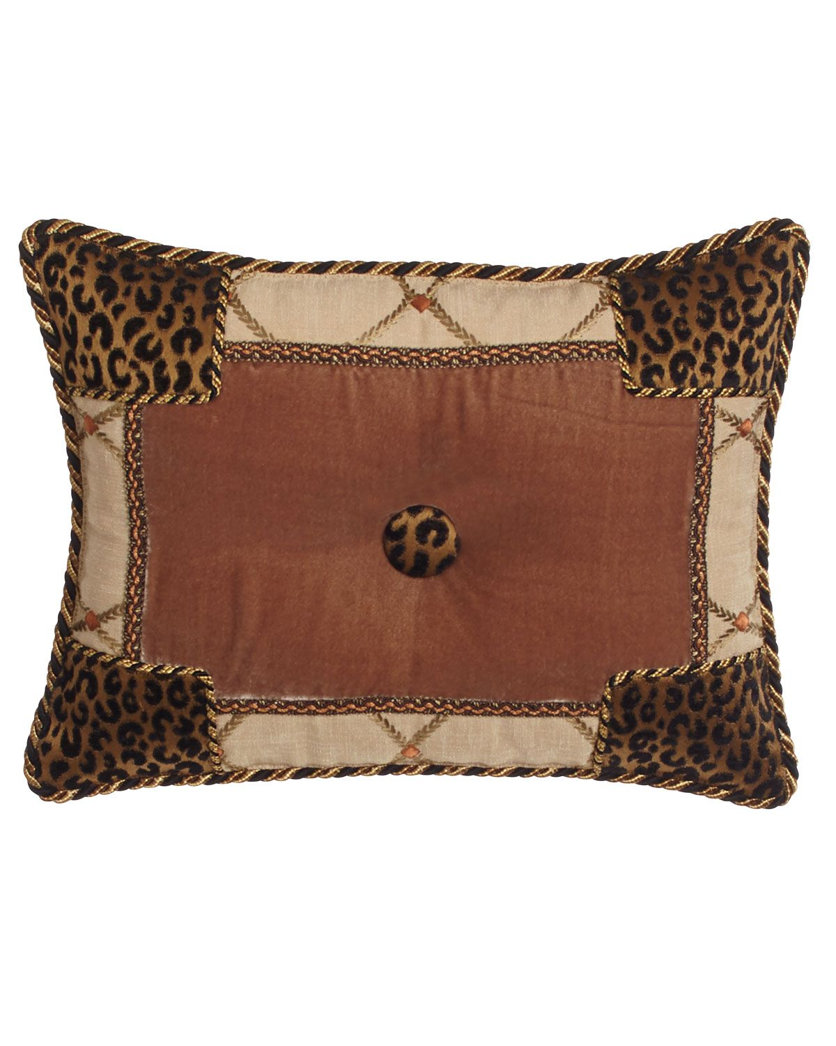 "Casablanca Animal-Print Pieced Pillow, 19"" x 19"" 