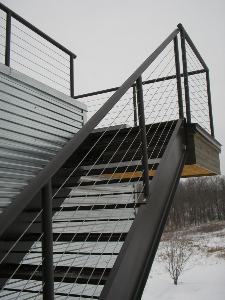 Best Hinged Steel Stair With Cable Rails Custom Metal 400 x 300