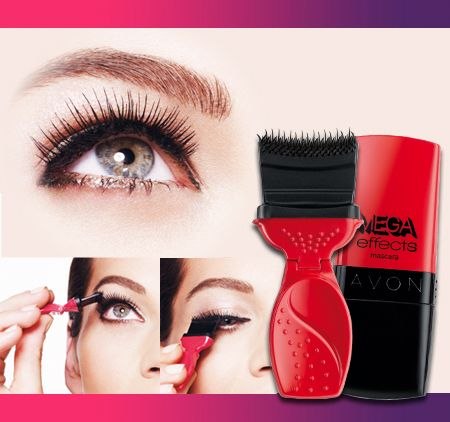 AVON Mega Effects Mascara Die Revolution im Augen Make-up Avons 1. Bürsten-Pinsel schenkt den Wimpern mit nur einem schnellen Schwung breitgefächertes Panorama-Volumen!