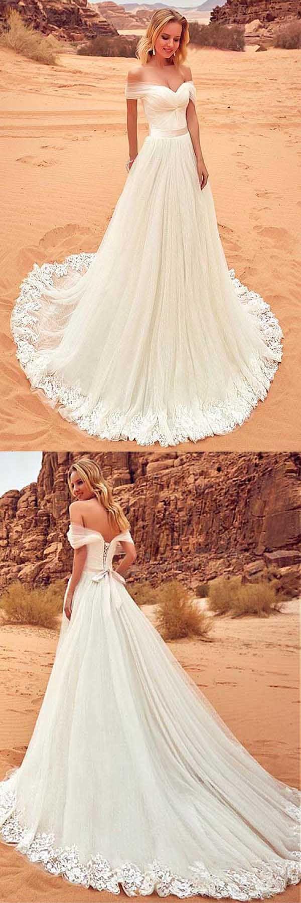 Covered shoulder wedding dresses  Tulle Offtheshoulder Neckline Wedding Dress With Lace Appliques