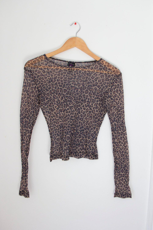 7870d7f4 90's Morbid Threads Vintage Leopard Print Mesh top size M | Depop ...