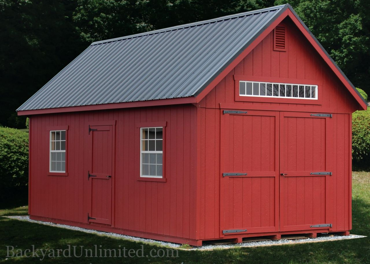 12'x36' New England Shed with 8'x8' transom barn door ...