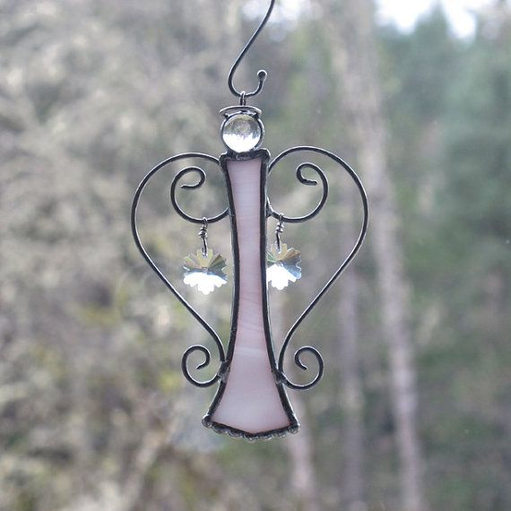 Whimsical Glass and Wire Angel Suncatcher with by EnchantedGlass