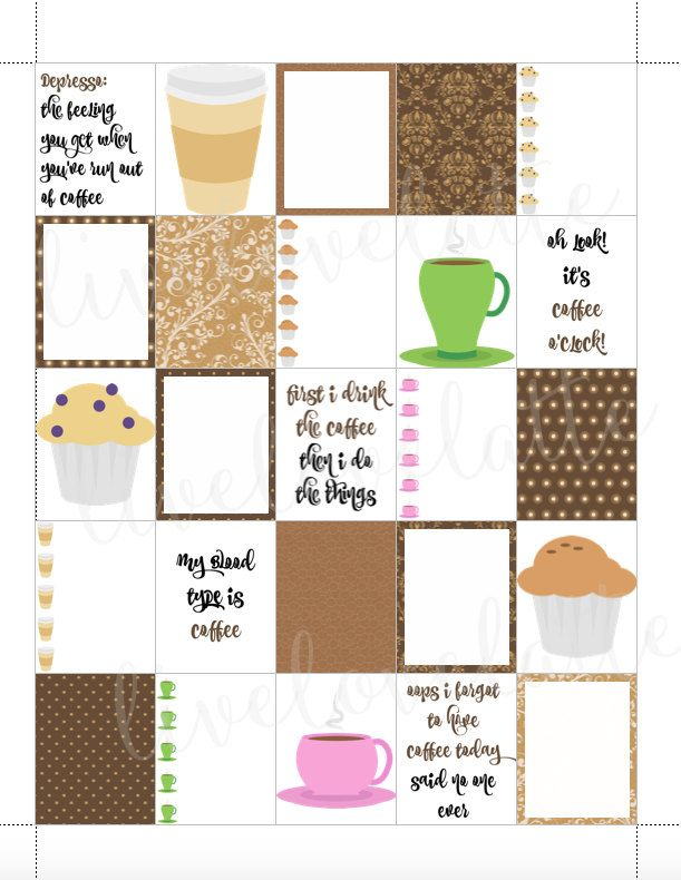 COFFEE BREAK Erin Condren (Vertical) Planner Stickers - digital - Instant Download by LiveLoveLatte on Etsy