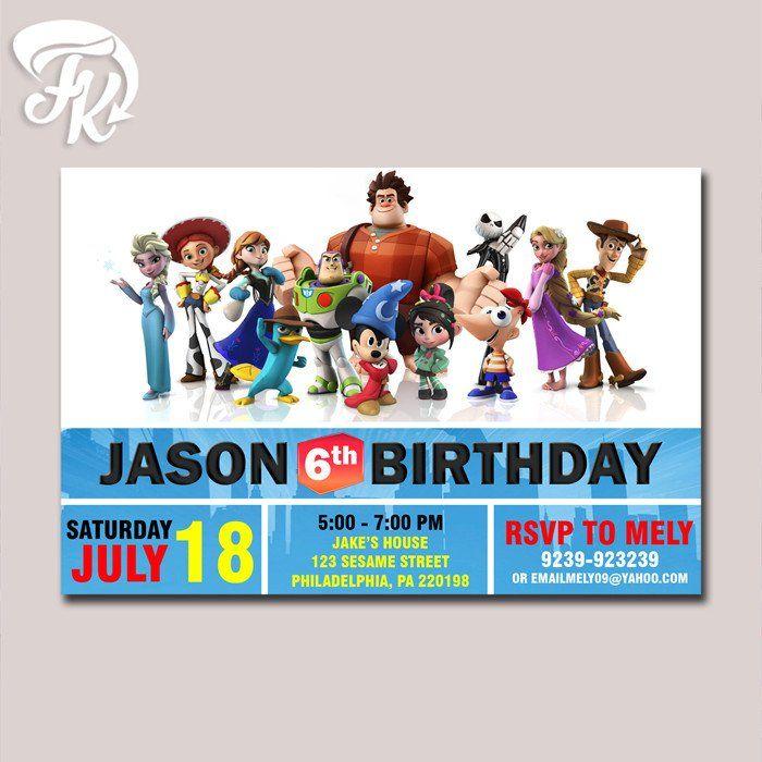 Disney Infinity Character Birthday Party Card Digital Invitation