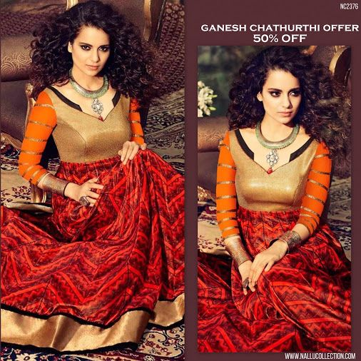 Elegant Anarkali Suit at 50% OFF! Shop Online: http://goo.gl/NVYhbw ‪ #GaneshFestivalOffer   #NalluCollection