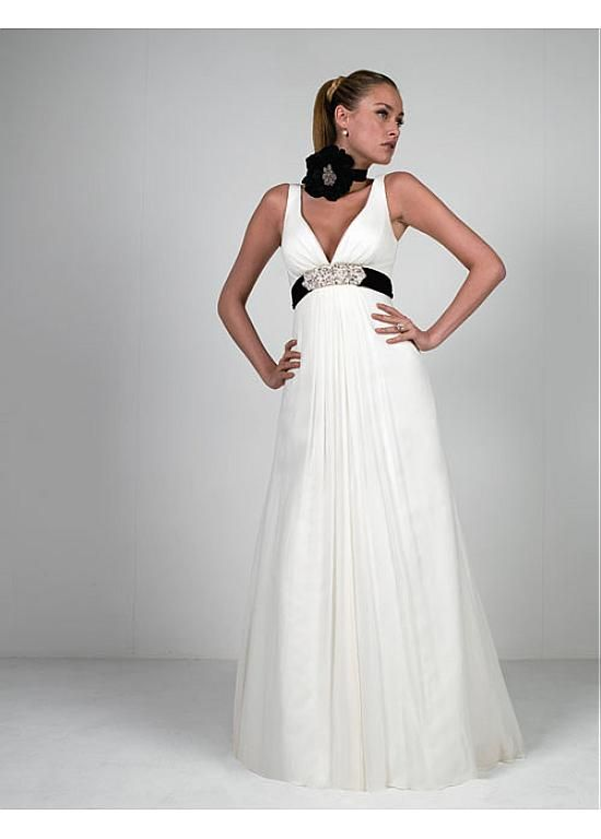 Romantic V-neck Sleeve Sleeveless Empire Full Length Without Train Empire Wedding Dresses