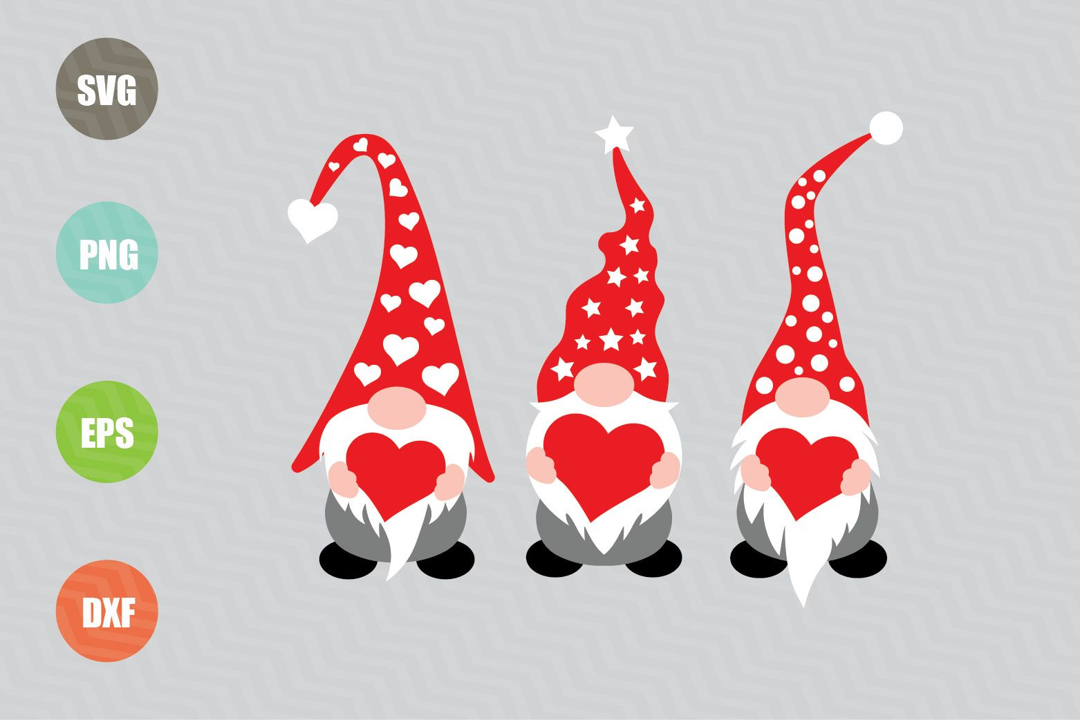 These Three Gnomes Holding Hearts Svg Files Are Perfect For Shirts Mugs Home Decor Tumblers Cards Party Decor And More In 2020 Svg Free Clip Art Graphic
