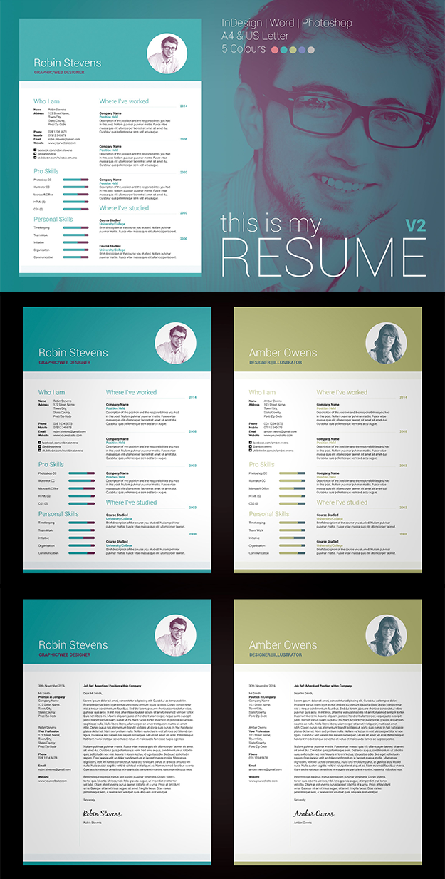 Professional, Modern Resume/CV / Cover letter template. My Resume V2 ...