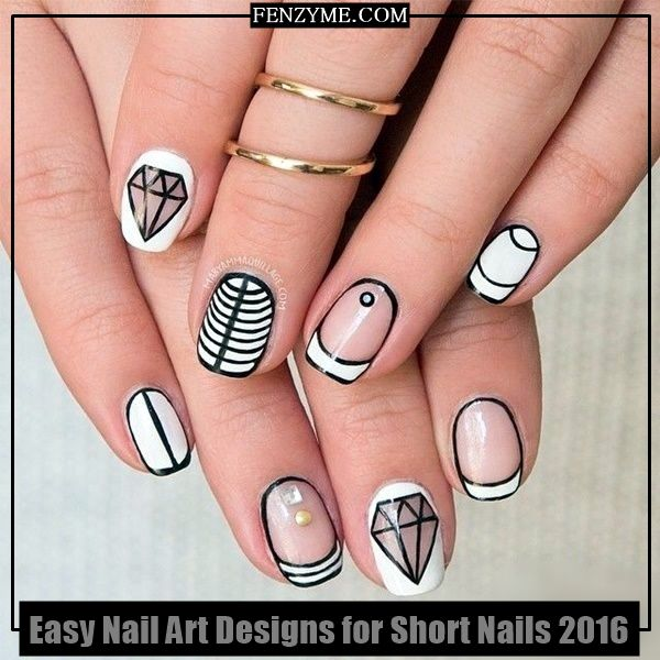 Simple Nail Art For Short Nails: Latest 45 Easy Nail Art Designs For Short Nails 2016