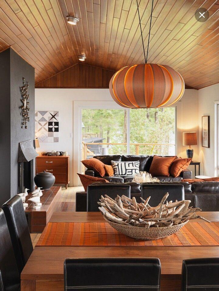 Black & Burnt Orange Family Room