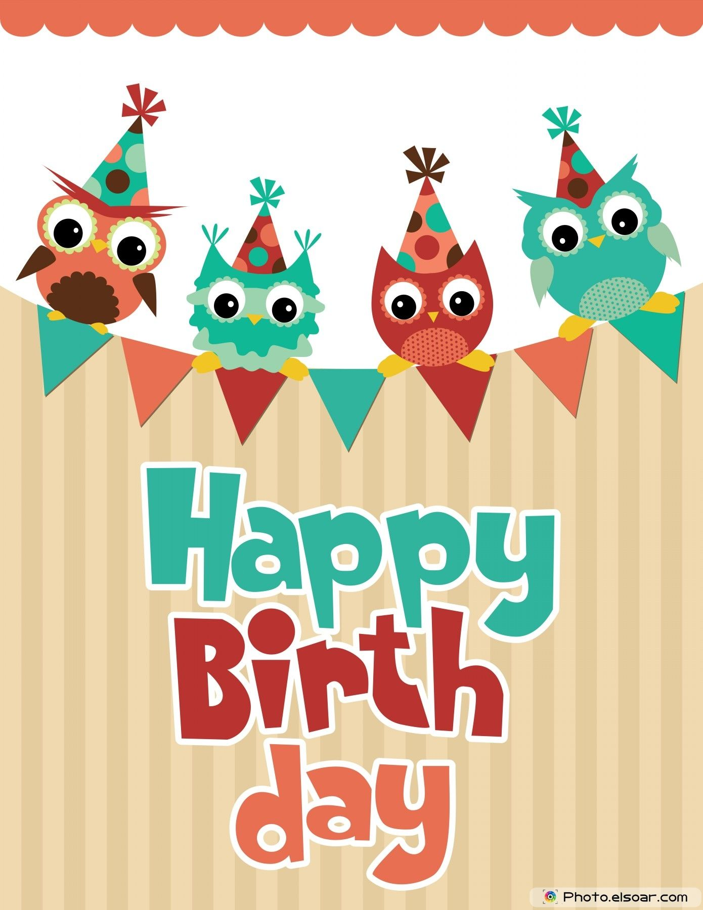Happy Birthday card design with funny angry owl – Unique Happy Birthday Greetings